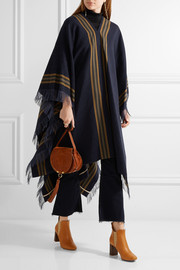 Chloé Fringed wool, linen and cashmere-blend twill poncho