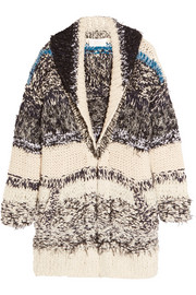 Oversized chunky-knit cotton-blend cardigan