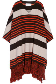 Fringed striped wool-blend poncho