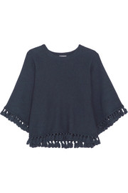 Tassel-trimmed cotton and wool-blend sweater