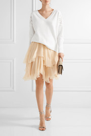 Chloé Guipure lace-paneled wool and cashmere-blend sweater
