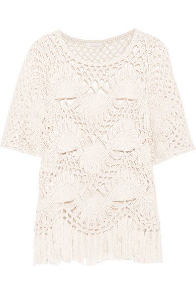 1a1cafc85b Fringed crocheted cotton and silk-blend top