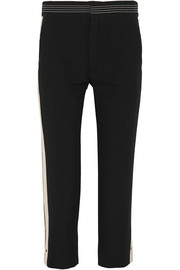 Chloé Canvas-trimmed crepe straight-leg pants