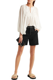 Canvas-trimmed crepe shorts