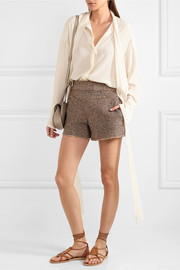Wool-blend tweed shorts