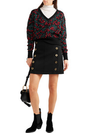 Chloé Embellished wool-piqué mini skirt