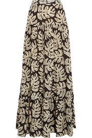 Chloé Printed cotton and wool-blend maxi skirt