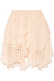 Tiered silk-crepon mini skirt