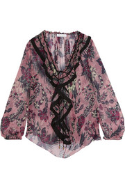 Chloé Ruffled printed silk-crepon blouse
