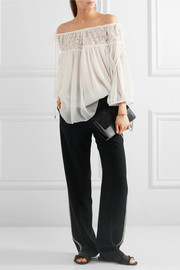 Off-the-shoulder embroidered tulle and silk-crepon blouse