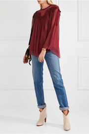 Guipure lace-trimmed silk-mousseline blouse