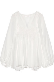 Chloé Guipure lace-trimmed stretch silk-mousseline blouse