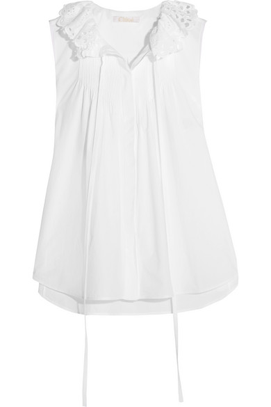 Chloé - Pussy-bow Broderie Anglaise-trimmed Cotton-poplin Top - White