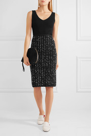 Ribbed-knit and bouclé-tweed midi dress