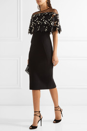 Lela Rose Tulle-paneled guipure lace and stretch wool-blend crepe dress