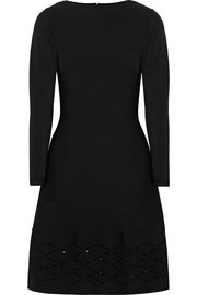 Lela Rose Laser-cut stretch-knit dress