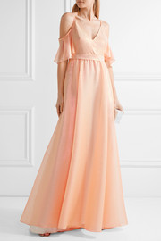 Lela Rose Off-the-shoulder metallic voile gown