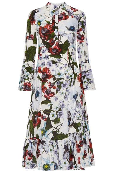Erdem - Connie Floral-printed Silk Crepe De Chine Dress - White