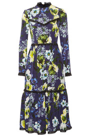 Georgie lace-trimmed printed silk crepe de chine dress