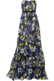 Simona floral-print silk-voile gown