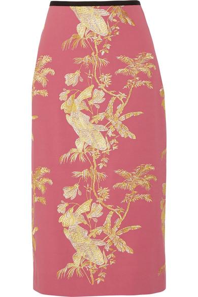 Erdem - Safia Metallic Embroidered Crepe Midi Skirt - Pink