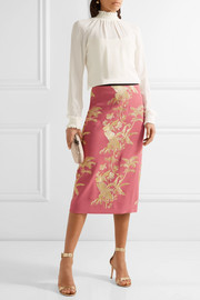 Erdem Safia metallic-embroidered crepe midi skirt