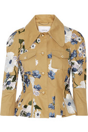 Erdem Shari embroidered cotton-canvas peplum jacket