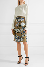 Aysha embroidered cotton-canvas skirt