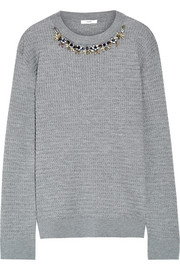 Lana crystal-embellished cable-knit stretch wool-blend sweater
