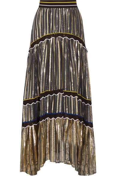 Peter Pilotto - Silk Blend-trimmed Metallic Chiffon Maxi Skirt - Gold