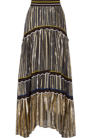 Peter Pilotto Silk blend-trimmed metallic chiffon maxi skirt