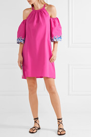 Peter Pilotto Off-the-shoulder embroidered cotton-poplin mini dress