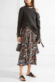 Peter Pilotto Tiered printed silk midi skirt