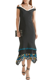 Peter Pilotto Tiered embroidered stretch-cady dress