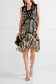 Peter Pilotto Silk blend-trimmed metallic chiffon dress