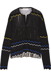 Paneled stretch-knit and pleated silk-blend lamé cardigan