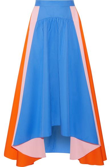 Asymmetric cotton-poplin skirt