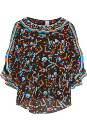 Peter Pilotto Ruffle-trimmed printed silk crepe de chine top