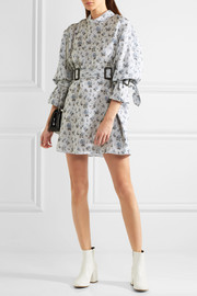 Belted floral-print silk-organza mini dress