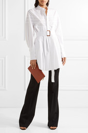 Calvin Klein Collection Belted pleated cotton-poplin tunic