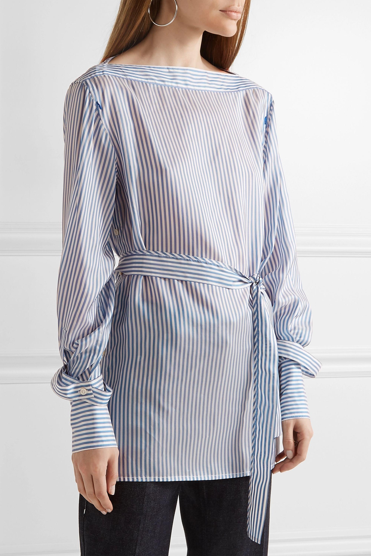 Calvin Klein Collection Oberteil aus gestreiftem glänzendem Twill