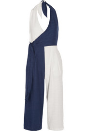 The Camille color-block cotton-blend voile halterneck jumpsuit
