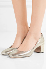 Chloé Lauren scalloped metallic cracked-leather pumps