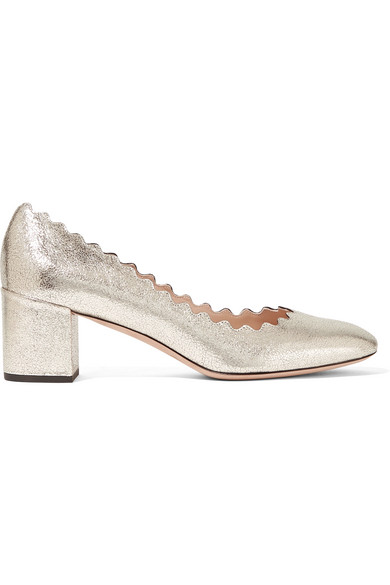 Chloé - Lauren Scalloped Metallic Cracked-leather Pumps - Gold