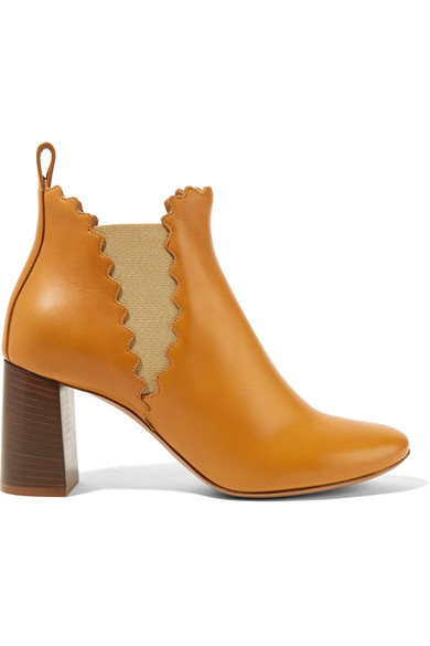 Chloé - Scalloped Leather Ankle Boots - Camel