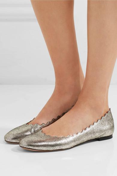 Chloé Lauren Scalloped Metallic Leather Flats kdZuHB6Vb