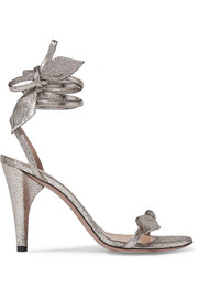 Chloé Mike metallic cracked-leather sandals
