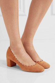 Chloé Lauren scalloped suede pumps
