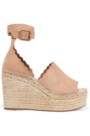Chloé Scalloped suede espadrille wedge sandals
