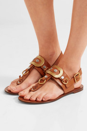 Chloé Embellished leather slingback sandals